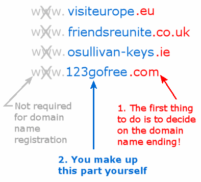 decide the domain name ending first